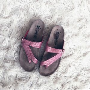 • Mephisto • Thong Leather Sandals Pink Gray 40